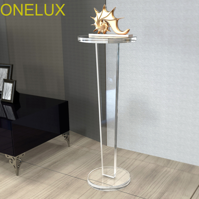Clear Acrylic Vintage Pedestal And Accent Table,Lucite Transparent  Plant/Sculpture Stand