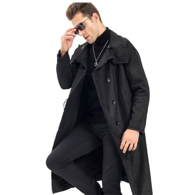 a8e823338d3d Black Leather Smart Casual Men's X-Long Coat Luxury 100% Sheepskin Military  Style Long Parka