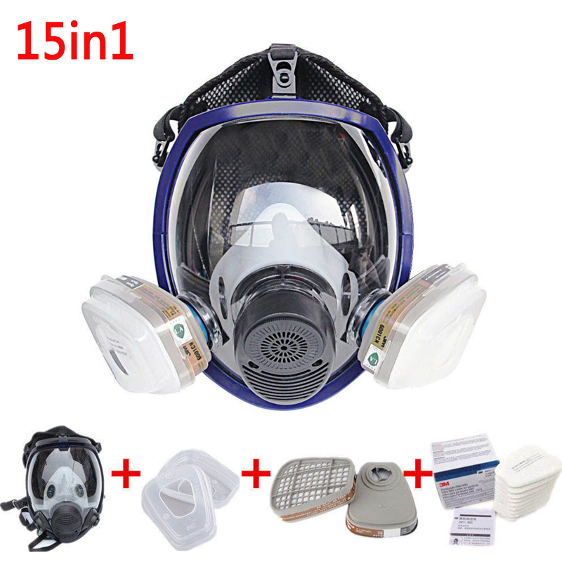 Mise à jour Plein Visage Masque Pour 6800 Gaz Masque Plein Visage Masque Respiratoire Pour La Peinture De Pulvérisation avec 2 pcs Cartouches
