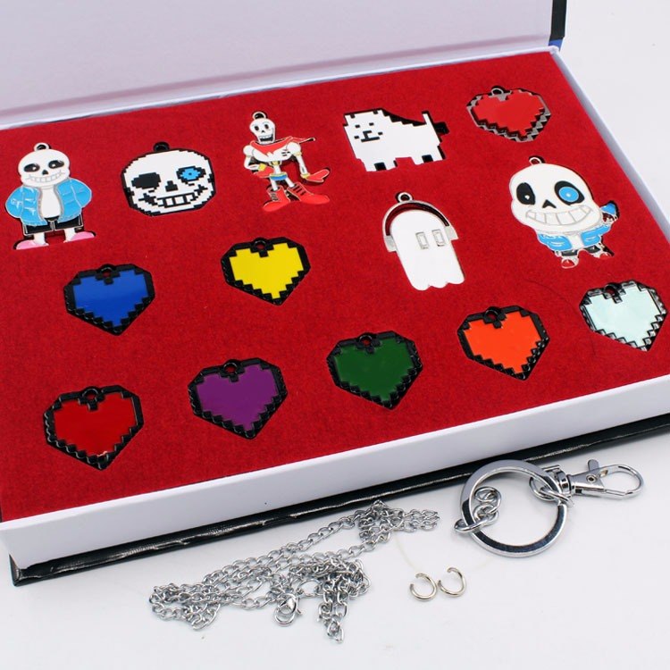 undertale figure toys Cosplay Frisk Chara Sans Papyrus Asriel Napstablook Toriel Temmie keychain pendant metal Cosplay toy set cosplay