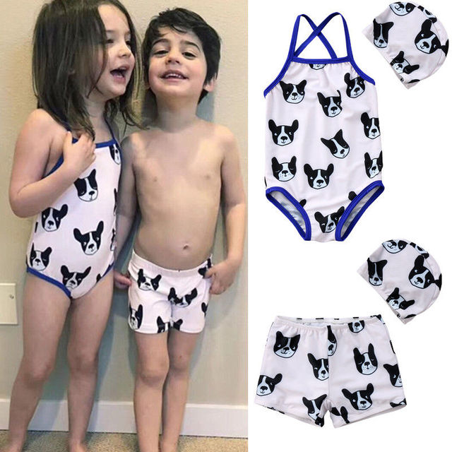 2018 Brand New Toddler Infant Child 2pcs Kids Baby Girl Boys Matching Swimsuit Swimwear Bulldog Swim Shorts Hat 2Pcs Set 1-6T