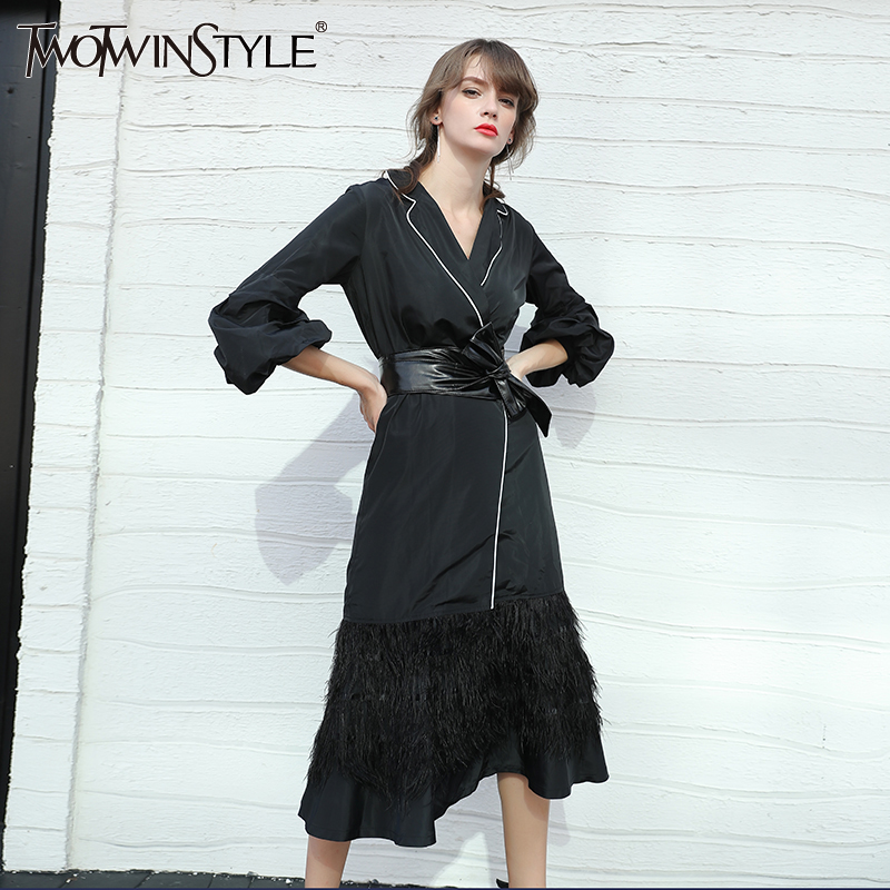 TWOTWINSTYLE Puff Long Sleeve Black Women's Windbreaker Trench Coat Female Lace up Cardigan with Feather Skirt Hem Autumn 2017