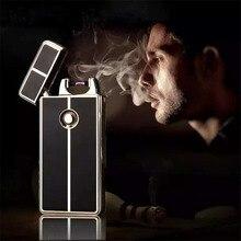 2016ชายของขวัญโลหะUSBชาร์จFlamelessไฟฟ้าArc W Indproofซิการ์บุหรี่ไฟแช็ก