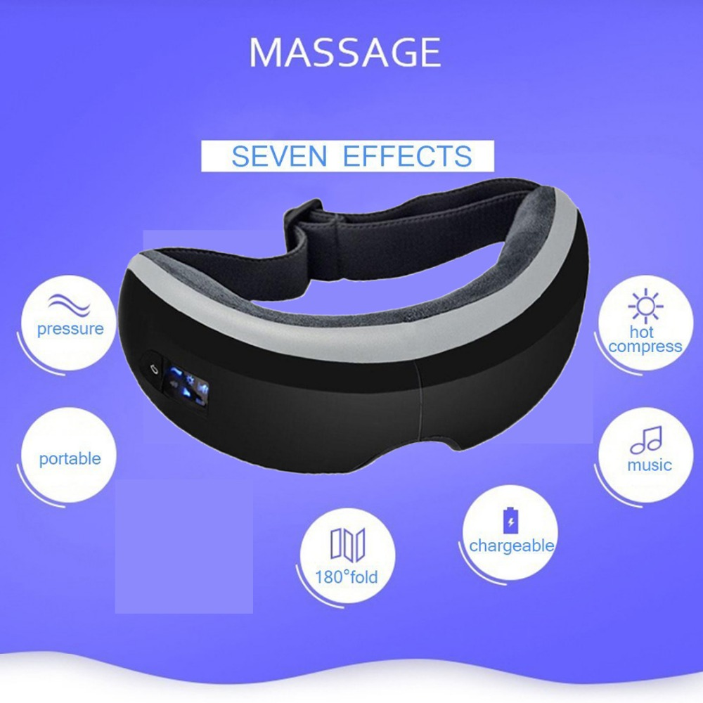 2018 electronic eye massager heating compression vibration music air pressure intelligent eye care masks rechargeable eye relax