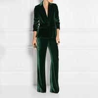 Formal Slim Fit Women's Business Work Wear 2 Pieces Suits Dark Green Velvet Office Ladies Fashion Stylish Suits Jacket Pants Set