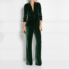 Formal Slim Fit Women's Business Work Wear 2 Pieces Suits Dark Green Velvet Offi