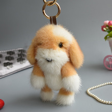 2017 Genuine mink Fur Keychain fashion Soft Fur dog Key ring bag Pendant gift car pendant car accessories key rings