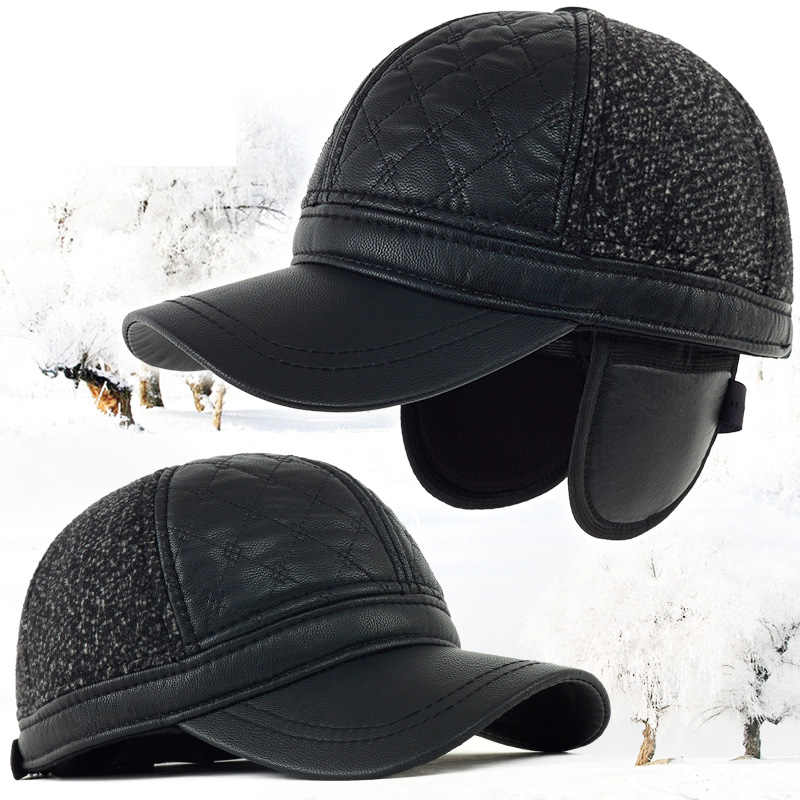 922f166045c Kagenmo Old Men Warm Winter Baseball Cap PU Leather Male Ear Protection  Winter Hat Thick Woolen Father s New Year Gift -in Baseball Caps from  Apparel ...