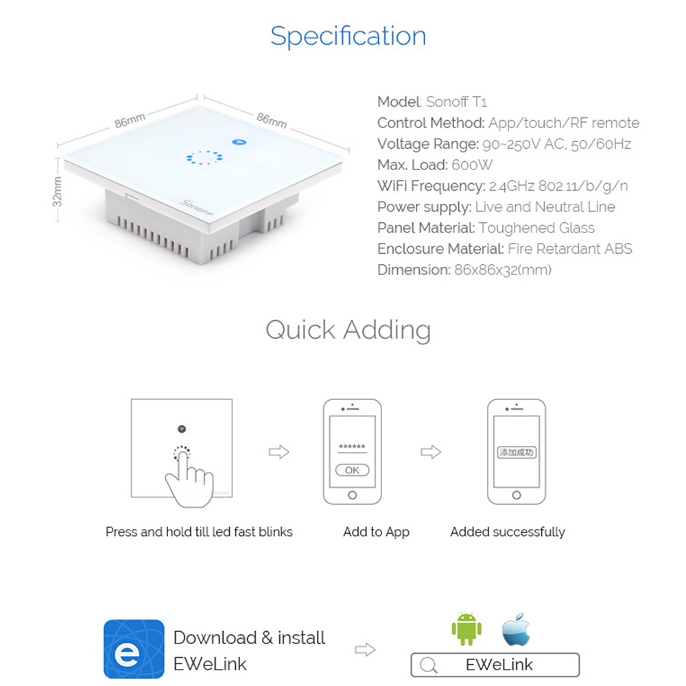Sonoff T1 Eu Smart Wifi Wall Touch Light Switch 1 Gang 2 Wiring A 433 Rf App Remote Home Controller Work With Alexa In Automation Modules