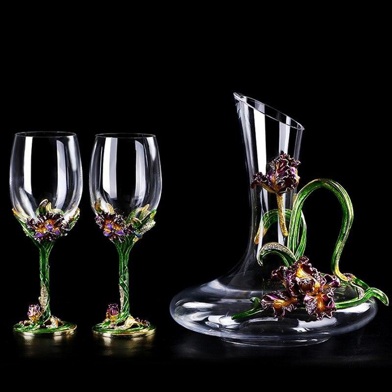 Sélectionné Cristal Rouge Vin Tasse Carafe En Verre Creative Haute Pied Tasse Haut de gamme De Mariage Cadeau Tasses En Verre Verrerie À Main en métal