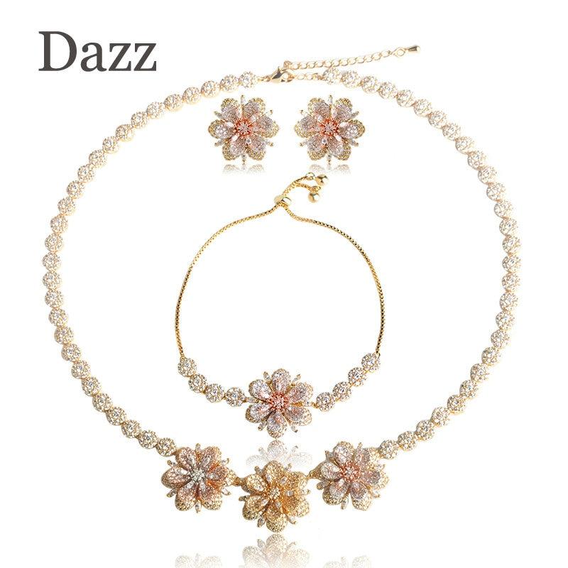Dazz Shining Three Tones Color Flowers Jewelry Sets Cubic Zircons Copper Necklace Earrings Bracelet Set Girls Wedding Bijoux цена