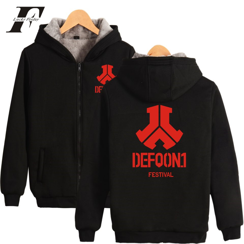 LUCKYFRIDAYF Defqon.1 Music Festival New Women Zipper Hoodies With Cap Men Thick Warm Kpop Winter Sweatshirt Black 4XL 2017
