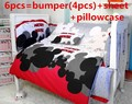 Promotion! 6PCS Mickey Mouse baby cotton crib bedding set for boys Applique baby bumper bed around  (bumper+sheet+pillow cover)