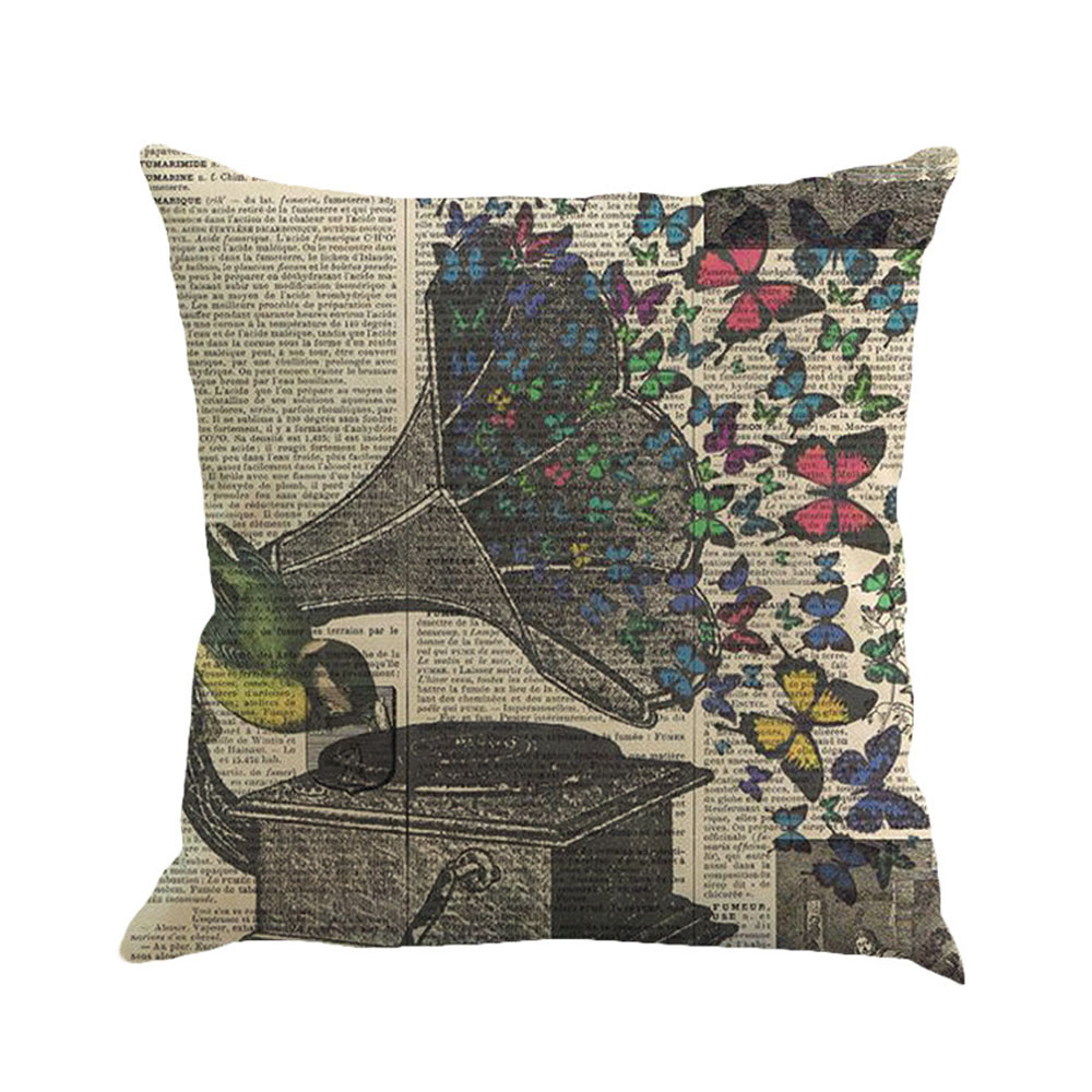 beautiful pillow cover butterflies polyester cushion cover for sofa seating living room home. Black Bedroom Furniture Sets. Home Design Ideas