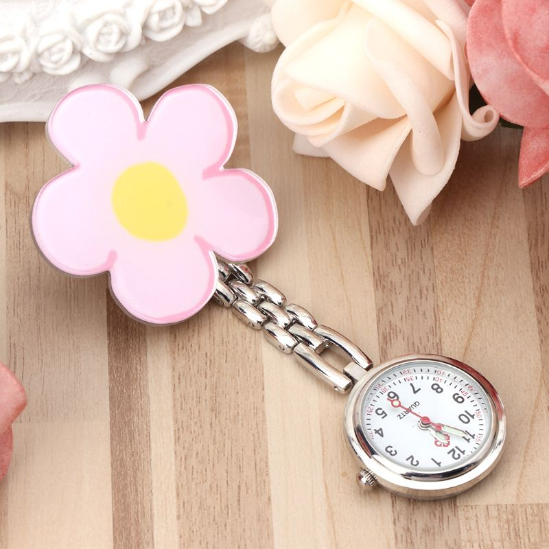 Flower Medical Hospital Pocket Watches Hang Clip Portable Acrylic Vintage Round 3D Nurse Supplies