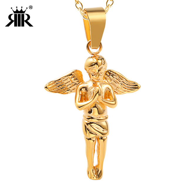 RIR Stainless Steel Bird Feather Necklace for mens women Little Angel Pendant Chain Necklaces Pendant Hip Hop Fashion Jewelry