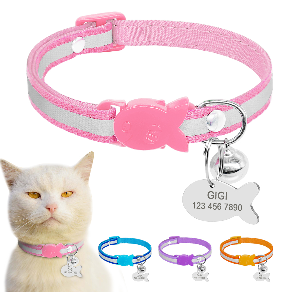 Reflective Nylon Cat Collar Personalized Safety Cat Collar Breakaway Engraved Kitten Collar With Engraved Fish Idtag Xs