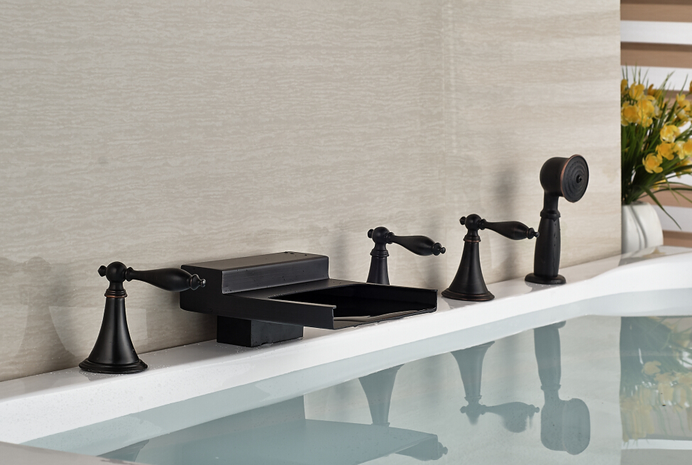 Oil Rubbed Bronze Deck Mounted Waterfall Bathroom Tub Faucet With Hand Shower Sprayer 5pcs