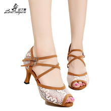 High quality Brown Red Black Dancing Shoes For Women ballroom dance shoes  women Latin 75b556441291