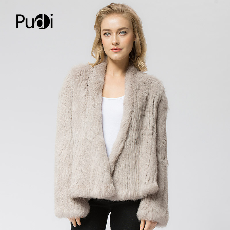 CR002Knitted knit new real rabbit fur coat overcoat jacket women s winter thick warm genuine fur