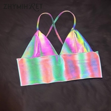 Colorful Reflective Holographic Crop Top