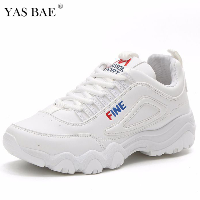 c6fb17f17bb Female retro fashion Ladies platform flat bottom Casual thick soled dad sneakers  Shoe with white Pink women's krasovki for women