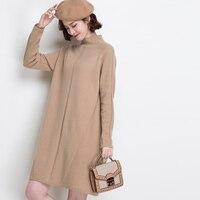 100% шерстяное Брендовое платье осень зима женское платье новое повседневное однотонное вязаное платье с высоким воротом свободное простое