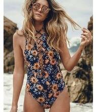Sexy Women Bikini Push Up One Piece Beachwear Hollow Floral