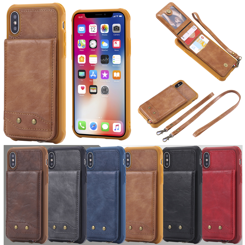 PU Leather Case For iPhone 8 7 6 6S Plus Card Slot Holder Cover For Samsung S8 S9 Plus Luxury Protective Back Fundas