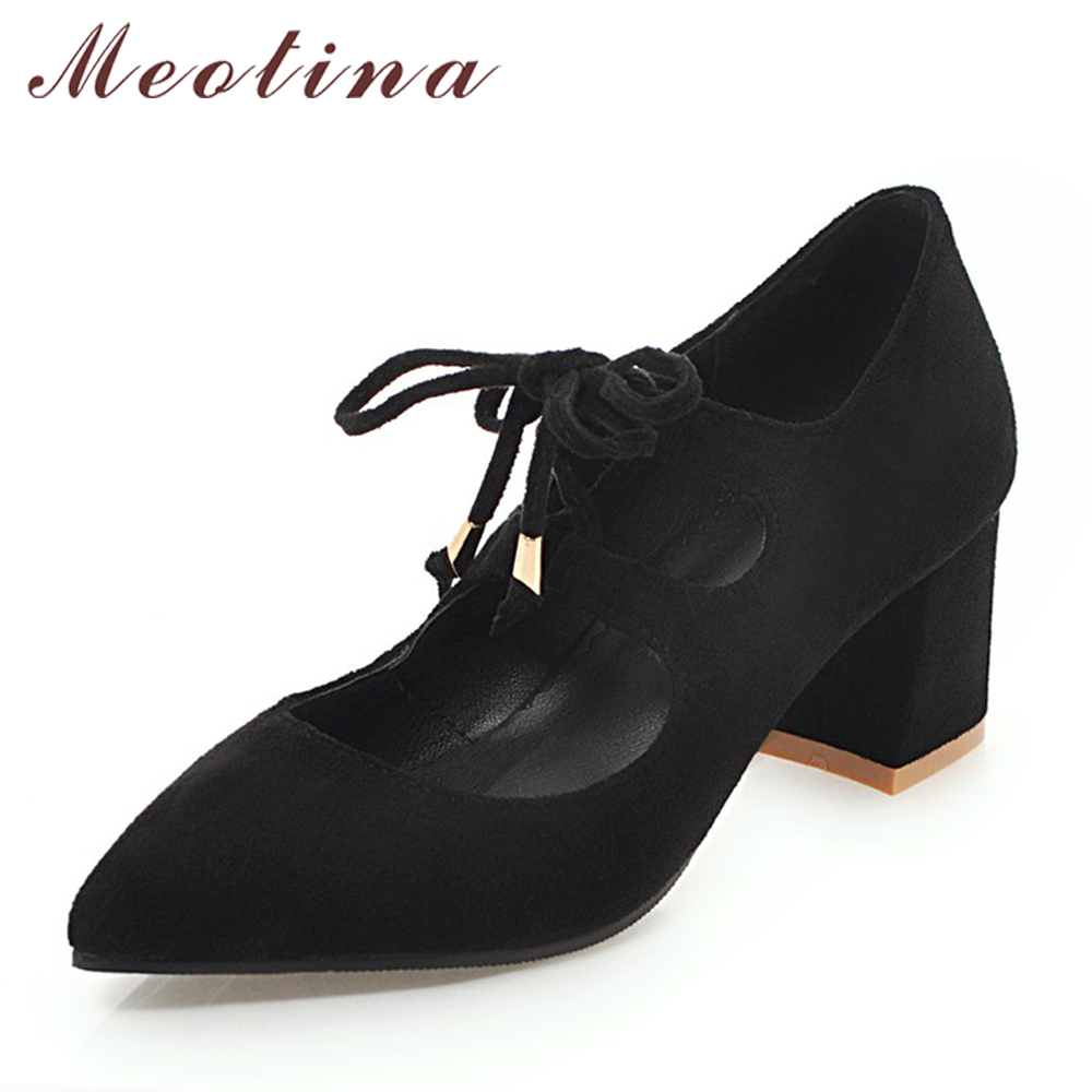 Meotina Women Shoes High Heels Female Pumps Lace Up Thick Heels Pointed Toe Ladies Shoes Bow Spring Shoes Black Big Size 33-45 zjvi woman pointed toe thick high heels pumps 2018 women spring autumn lace up shoes ladies women s female nubuck casual pump
