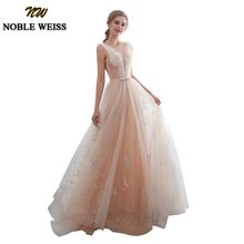 NOBLE WEISS Sheer Scoop Neck Evening Dresses 2018 Champange Lace Formal  Saudi Arabia Prom Gowns A-Line Tulle Robe De Soiree fcbf6a2a34d6