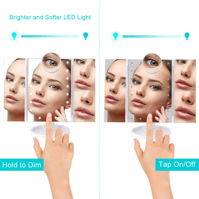 Makeup 22 LED Vanity Mirror with Lights 1X2X3X10X Magnification Glass Portable Touch Screen Make Up Mirror Flexible Compact Mirr 2