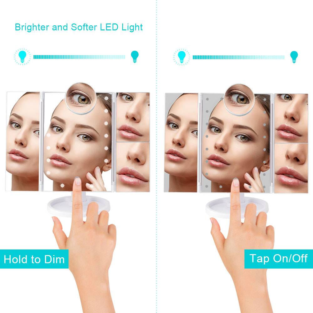 Image 2 - Makeup 22 LED Vanity Mirror with Lights 1X2X3X10X Magnification Glass Portable Touch Screen Make Up Mirror Flexible Compact MirrMakeup Mirrors   -