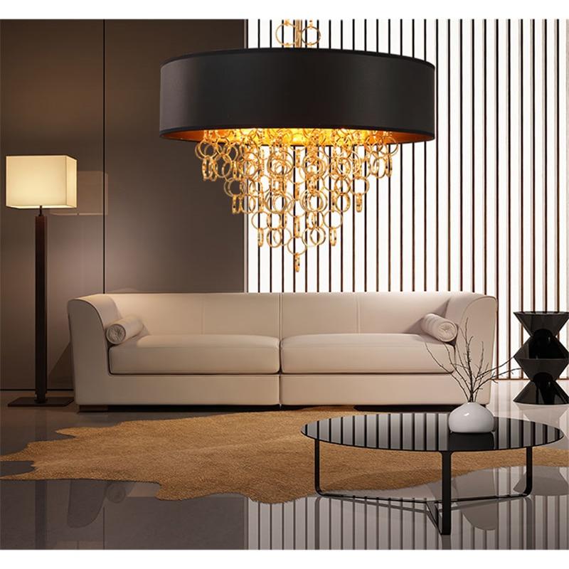 Modern Nordic Gold Tassels Dining Room Pendant Lights Black + Gold Circle Fabric Lights For Bedroom Hotel E27 Bulb Free Shipping цена