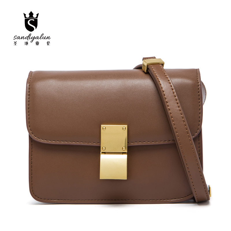 2016 Women Classic Box Genuine Napa Leather Handbags Female Crossbody Small Flap Bags Famous Brand Stewardess Shoulder Bags famous brand handbags small women flap messenger bags crossbody shoulder genuine first layer of cowhide leather shell bag female
