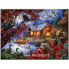 5d diamond embroidery house landscape diy mosaic diamond painting animal bear and eagle full square/round drill wall decor JX452(China)