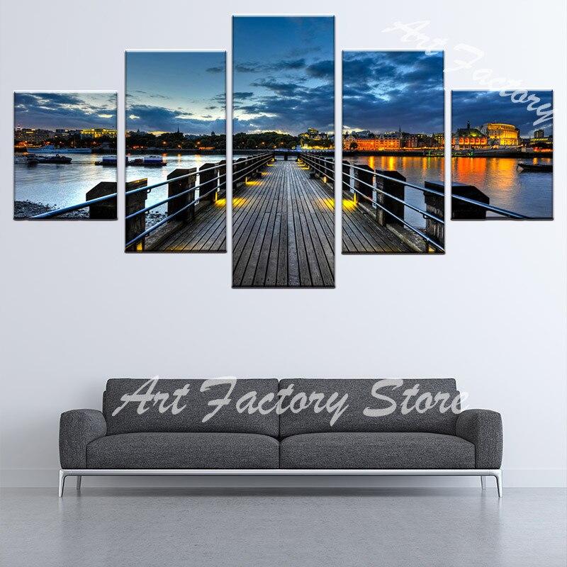 5 панель вечерние Pier сцены HD Печать на холсте стены Книги по искусству фотографии Декор в гостиную Картины для спальни плакат Декор для дома ...