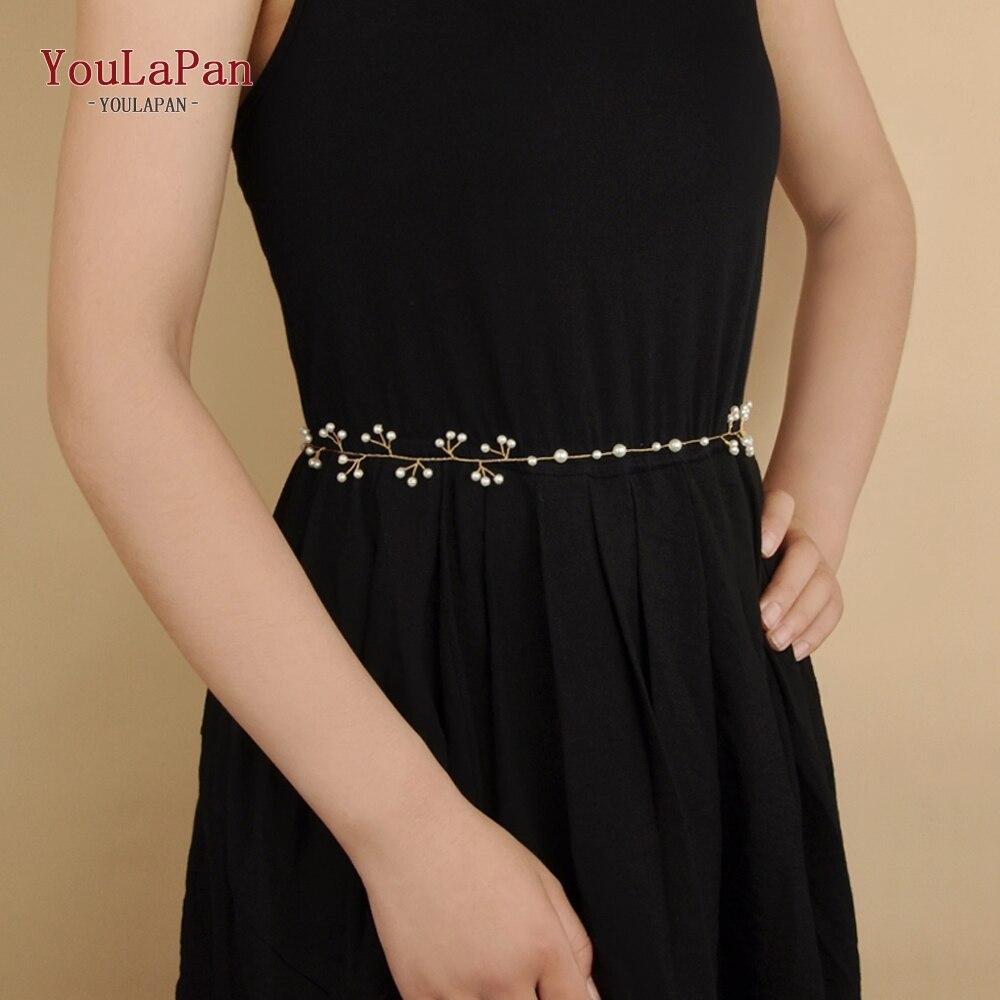 YouLaPan SH39 Bridal Belts With Diamond Wedding Sash Thin Belts For Dress Wedding Sash Vine Wedding Accessories Wedding Belt