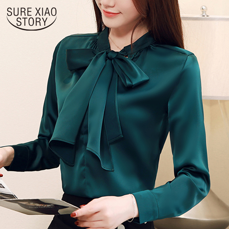 Fashion Womens Tops And Blouse Bow Collar Office Blouse Women Solid Chiffon Blouse Shirt Long Sleeve Women Shirts Blusas 2042 50