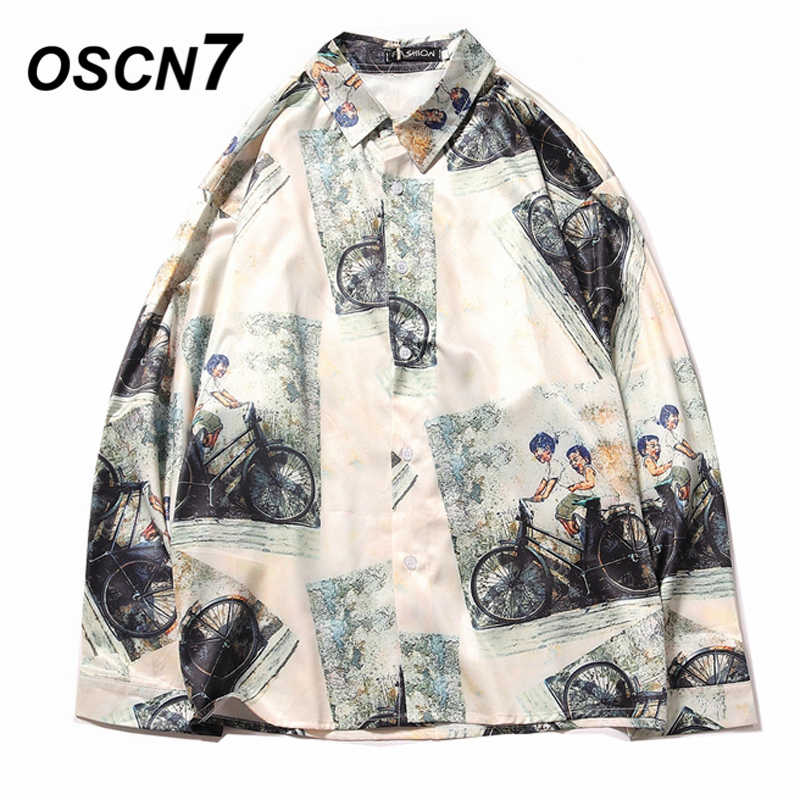 OSCN7 Casual Printed Long Sleeve Shirt Men Streetwear 2019 Fall Hawaii Beach Long Sleeve Shirts Harujuku Mens Shirt 2212