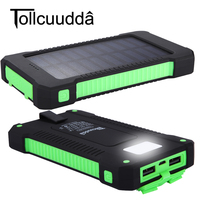 Tollcuudda 10000mAh Solar Power Bank Dual USB Powerbank Waterproof Bateria External Solar Panel Battery Charger With