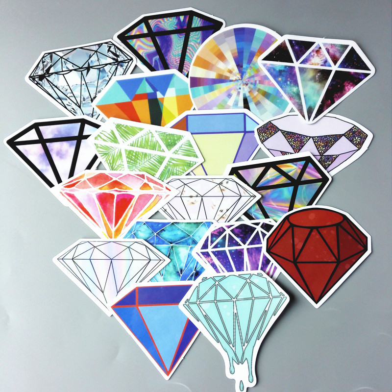 18pcs/lot Fashion Transparent Diamond Design Stickers For Snowboard Car Laptop Luggage Skateboard Motorcycle Decal Toy Sticker Classic Toys