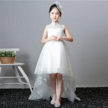 2019Luxury Children Girls Gorgeous Pure White Color Birthday Wedding Party Long Tail Mesh Dress Kids Teens Tutu Model Show Dress