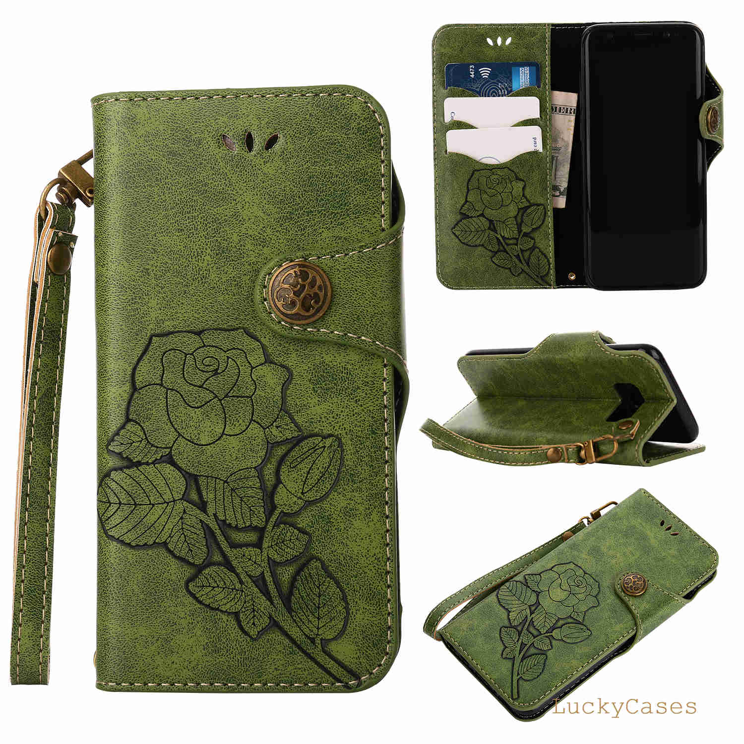 Flip Leather Wallet Cover For Samsung S8 Retro Rose Protect Cases For Samsung S8 Shockproof Bags