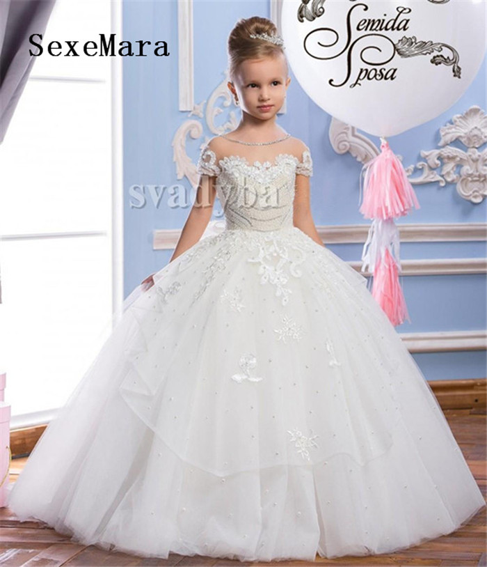 Vintage Kids Pageant Gowns Lace Ball Gown Flower Girl Dresses For Weddings First Communion Dresses Flurry Wide Tulle White Ivory
