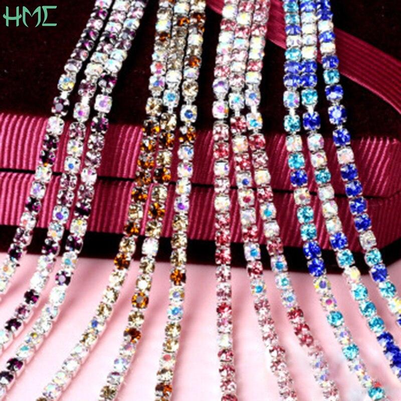 Alta densidade de prata base garra cristal strass corrente para fazer jóias diy artesanato costura roupas festa casamento decoração