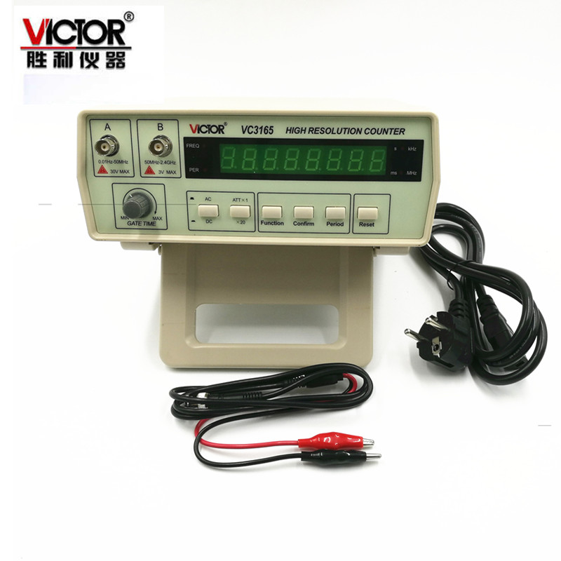 VICTOR VC3165 Precision Frequency Counter Frequency Meter Digital Cymometer 0.01Hz-2.4GHz 2Input Channels AC/DC Coupling 8-digit