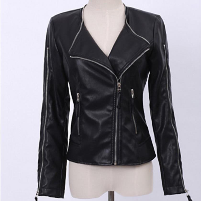 PU   Leather   Jacket Faux Short Motorcycle Round neck Jacket