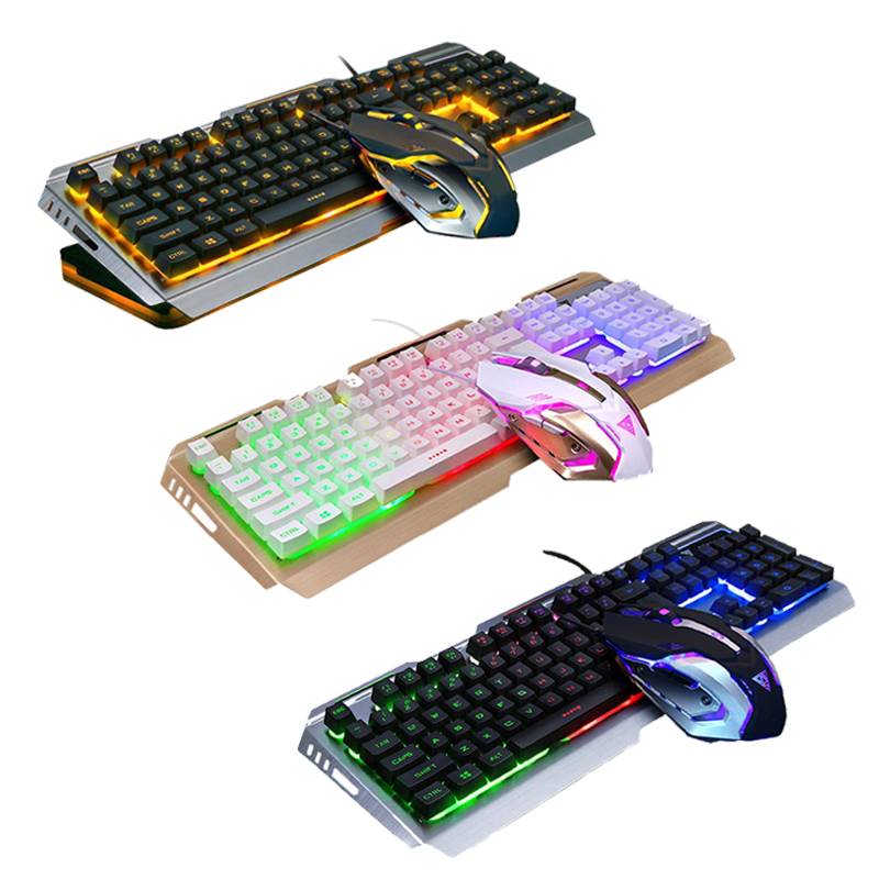 Jogo de teclado do rato v1 com fio iluminado backlit usb gaming keyboard 3200 dpi gamer mouse computador portátil mouse
