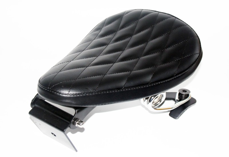Motorcycle Black Diamond Leather Driver Solo Seat & Spring + Saddle Bracket For Harley Custom Chopper Bobber 883 1200 XL